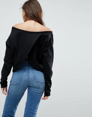 ASOS Свитшот с открытыми плечами и запахом на спине. Цвет: черный