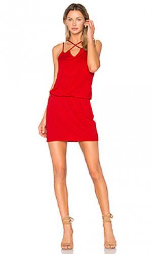 Платье накрест спереди Lanston. Цвет: красный