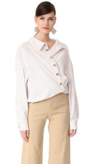 Рубашка с запахом Japanese A.W.A.K.E.. Цвет: белая клетка