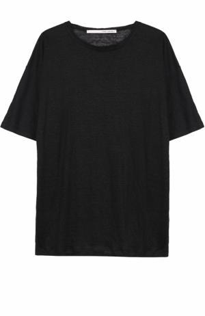 Льняная футболка свободного кроя Isabel Benenato. Цвет: черный