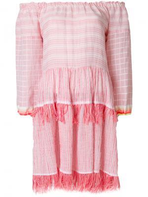Платье с открытыми плечами и кисточками Lemlem. Цвет: розовый и фиолетовый