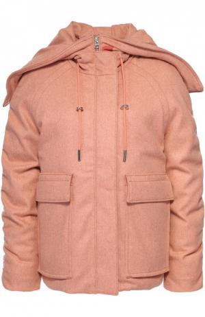 Укороченный пуховик с накладными карманами и капюшоном Acne Studios. Цвет: розовый