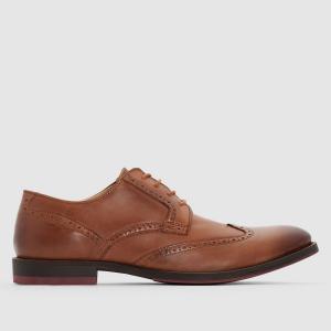 Ботинки-дерби кожаные La Redoute Collections. Цвет: темно-бежевый,черный