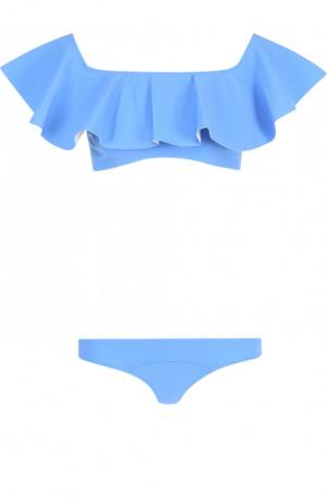 Однотонный раздельный купальник с оборками Lisa Marie Fernandez. Цвет: синий