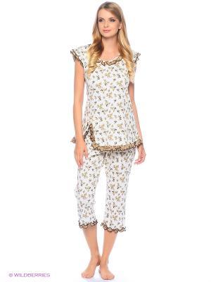 Комплект домашней одежды ( футболка, бриджи) HomeLike. Цвет: бежевый, молочный