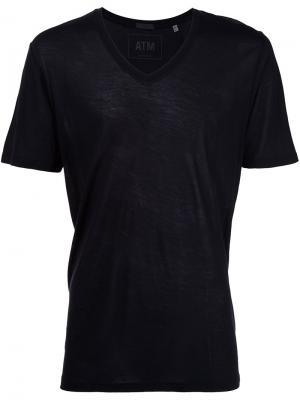 Трикотажная футболка с V-образным вырезом Atm Anthony Thomas Melillo. Цвет: чёрный