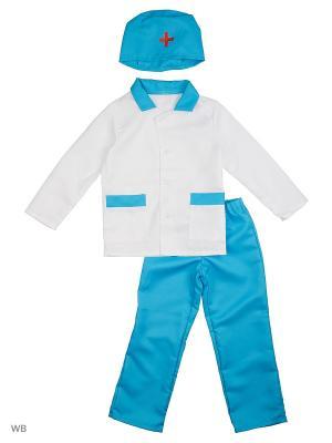 Карнавальный костюм Врач Батик. Цвет: голубой, белый