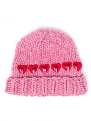 Knitted Heart Beanie Hat Wool And The Gang. Цвет: розовый и фиолетовый