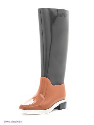Резиновые сапоги Melissa. Цвет: черный, рыжий