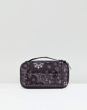 ASOS Дорожный кошелек с платочным принтом. Цвет: черный