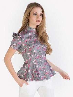 Блуза Анна Чапман. Цвет: серый, бледно-розовый