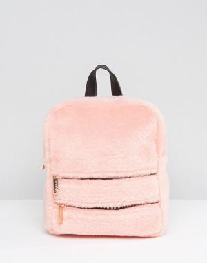 Skinnydip Рюкзак из искусственного меха с двойной молнией. Цвет: розовый