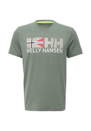 Футболка Helly Hansen. Цвет: бирюзовый