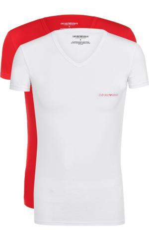 Комплект из двух хлопковых футболок с V-образным вырезом Emporio Armani. Цвет: красный