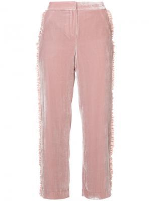 Бархатные брюки с рюшами Cinq A Sept. Цвет: розовый и фиолетовый