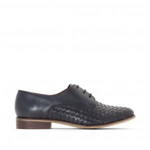 Ботинки-дерби из плетеной кожи R essentiel. Цвет: синий морской,темно-бежевый