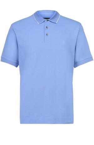 Хлопковое поло с короткими рукавами Z Zegna. Цвет: голубой