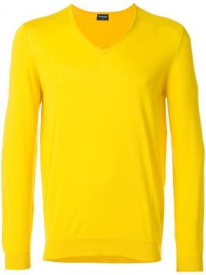 Свитер с V-образным вырезом Drumohr. Цвет: жёлтый и оранжевый