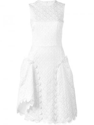 Жаккардовое платье с фестонами Simone Rocha. Цвет: белый
