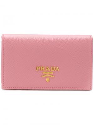 Складная визитница Prada. Цвет: розовый и фиолетовый