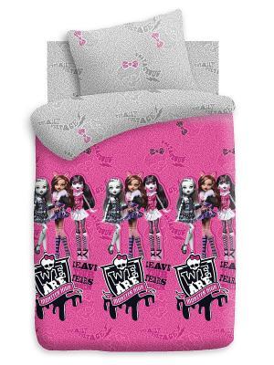 Комплект постельного белья 1,5 поплин Monster High. Цвет: фуксия
