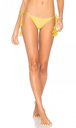 Сеточные плавки с завязками по бокам polihale Acacia Swimwear. Цвет: горчичный