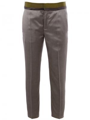 Укороченный брюки с контрастным поясом Haider Ackermann. Цвет: серый