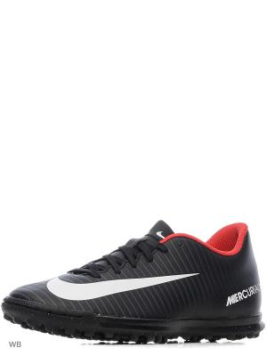 Бутсы MERCURIALX VORTEX III TF Nike. Цвет: черный, белый, темно-серый
