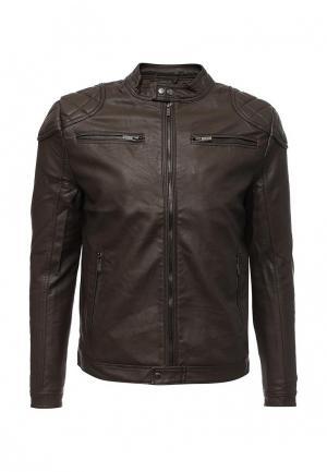 Куртка кожаная Fresh Brand. Цвет: коричневый