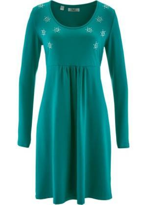 Трикотажное платье со стразами и длинным рукавом (темно-изумрудный) bonprix. Цвет: темно-изумрудный