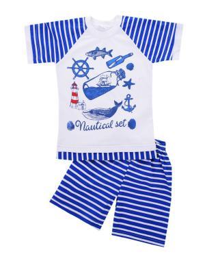 Комплект: футболка, шорты Sladikmladik. Цвет: синий