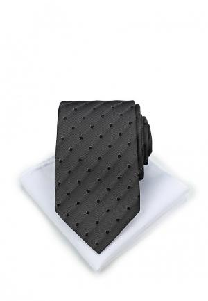 Комплект галстук и платок Piazza Italia. Цвет: черный