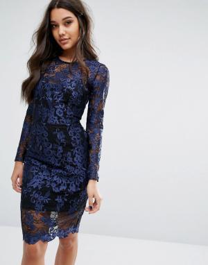 Lipsy Платье с длинными рукавами и контрастной подкладкой. Цвет: темно-синий