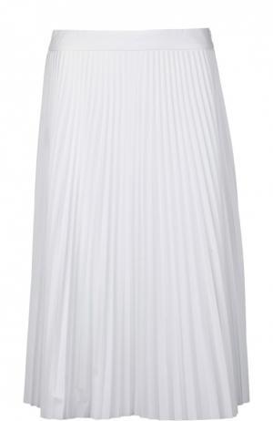 Плиссированная хлопковая юбка-миди Joseph. Цвет: белый