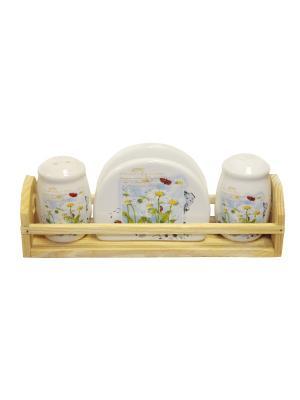 Набор для специй Ромашка  в п/у Elff Ceramics. Цвет: белый, желтый