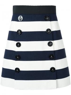 Юбка А-образного силуэта в полоску Dolce & Gabbana. Цвет: синий