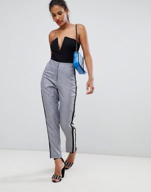 Missguided Sports Stripe Cigarette Trousers. Цвет: серый