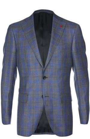 Приталенный пиджак в клетку Sartoria Latorre. Цвет: синий