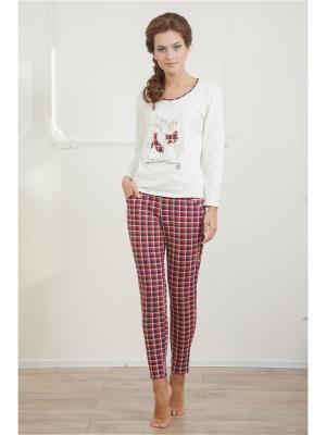 Пижама CLEO. Цвет: темно-красный, молочный