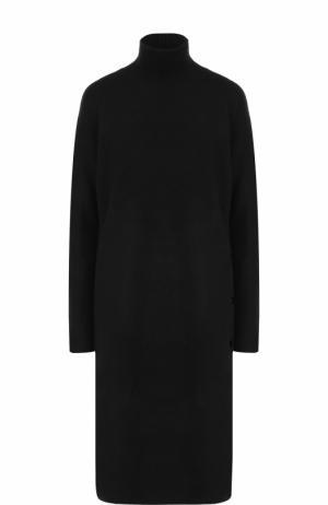 Шерстяное платье-миди прямого кроя с воротником-стойкой By Malene Birger. Цвет: черный