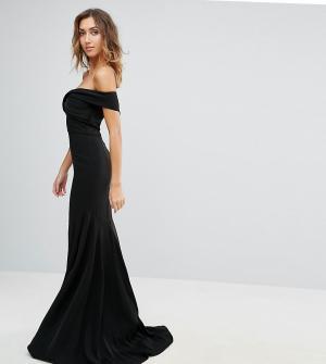 Jarlo Tall Платье макси с открытыми плечами. Цвет: черный