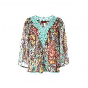 Блузка с принтом и декольте отделкой кружевом RENE DERHY. Цвет: бирюзовый