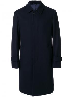 Пальто с потайной застежкой на пуговицах Hevo. Цвет: синий