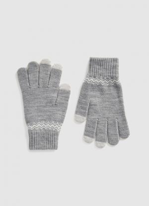 Жаккардовые перчатки с узором OSTIN. Цвет: серый