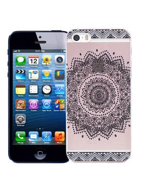 Чехол для iPhone 5/5s Мехенди Круг (черный) Kawaii Factory. Цвет: черный, розовый