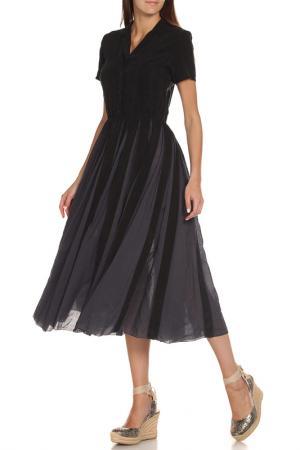 Полуприлегающее платье с V-образным вырезом EUROPEAN CULTURE. Цвет: темно-синий