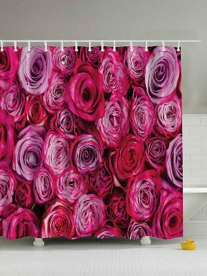 Фотоштора для ванной Весна, лето, осень, 180*200 см Magic Lady. Цвет: малиновый, красный, розовый