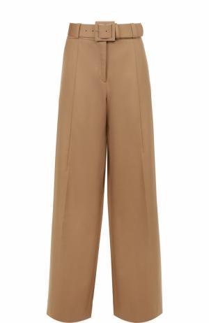Хлопковые расклешенные брюки со стрелками Oscar de la Renta. Цвет: бежевый