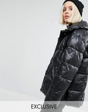 Puffa Дутая oversize-куртка. Цвет: черный