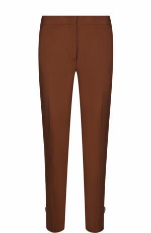 Укороченные расклешенные брюки со стрелками No. 21. Цвет: коричневый